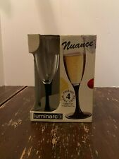 Luminarc Nuance Black Stem 5 3/4 Ounce Wine Goblet Set Of 4 With Box