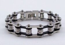 Womens Stainless Steel W Double Crystals Biker Chain Bracelet Silver/Black