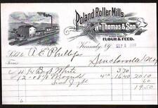 1899 Kennedy NY - Poland Roller Mills - Wm Thomas & Son - Flour RARE Letter Head