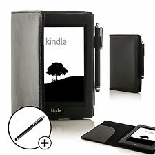 Forefront Cases Leather Black Smart Case Cover for Amazon Kindle Voyage + Stylus