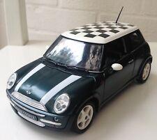 Pull Back & Go Action Mini Cooper Hatch Model Die Cast Metal Dark Green Chequer
