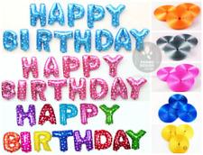HAPPY BIRTHDAY FOIL SET BALLOONS FREE 10 METRE RIBBON PARTY DECORATION UK SELLER