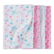 Gerber Girl 4-Pk Pink Butterfly/Polka Dot Flannel Blankets BABY CLOTHES GIFT