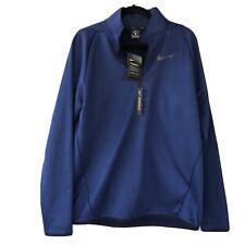 Nike Men's Therma 1/4 Zip Blue Navy Fleece Pullover Sweatshirt Size Medium New