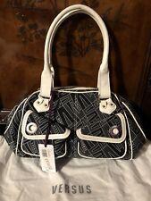 Versus Versace Monogrammed  Black/White Print Patent Leather Trim Bag New