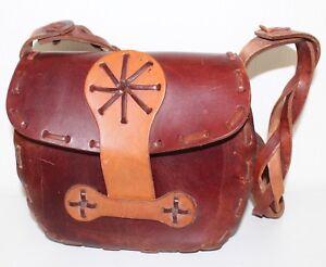 70er 70s Vintage TRUE VTG ECHT LEDER Hippie Tasche Satchel Leather BAG COGNAC