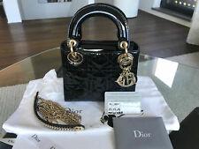 CHRISTIAN DIOR Lady Dior Mini Hand Bag Chain Strap Black Patent FULL SET