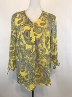 Charter Club Luxury Linen Top Blouse Yellow Gray Paisley V Neck Tunic Size M