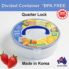 Round Food Container School Picnic Lunch BBQ Box Bento Lock Kid Divided BPA FREE