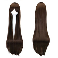 100cm Women Dark Brown Long Straight Party Cosplay Wig heat resistant Full Wigs
