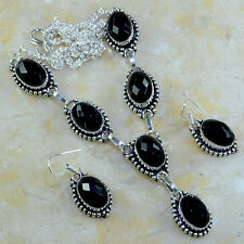 BEAUTIFUL FLAWLESS FACETED BLACK ONYX EARRINGS/NECKLACE SET 925 STAMPED SILVER!