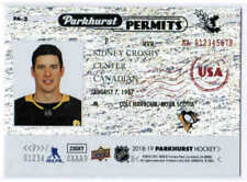 18/19 2018 UD PARKHURST SIDNEY CROSBY PA-2 PERMITS STAMPED PITTSBURGH PENGUINS