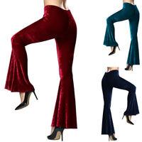Chic Women Velvet Bell-bottoms Flared Baggy Wide Leg Long Pants Trousers Hippie