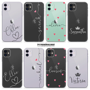 PERSONALISED PHONE CASE CLEAR NAME INITIALS SILICONE COVER FOR IPHONE 11 XR 12 7
