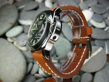 24mm NEW COW LEATHER STRAP Light Honey Brown Watch Band White Stitch PANERAI