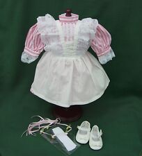 "American Girl 18"" Retired SAMANTHA BIRTHDAY DRESS PINAFORE + PARTY SHOES REPRO"