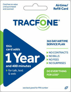 Tracfone 1 Year Plan - 365 Days 400 Minutes For Talk, Text And Data!!