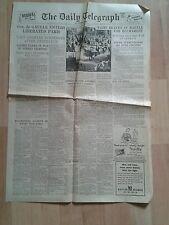 Telegraph Newspaper Aug 26 1944 De Gaulle Paris. Bucharest Battle. Rhone Delta.