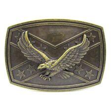 Union Flag Flying Eagle Belt Buckle Mens Bronze Metal Southern Gentleman  Rebel