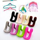 10pcs Creative Mini Flocking Clothes Hanger Easy Hook Closet Organizer