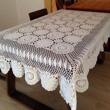 130*180cm Beige Cotton Tablecloth Hand Crochet Lace Doily Placemat Table Cloth