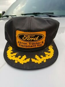 Vintage K Products Ford Akron Tractor & Equipment Hat Patch Trucker Gold Leaf