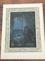 1909 colour antique lithograph - edmund dulac ( rubaiyat of omar khayyam ) ref 7