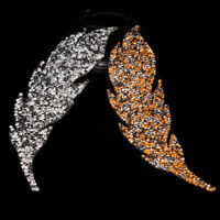 Rhinestones leaves feather embroidered patch iron on sewing crystal applique TB