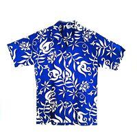 Vintage Blue Paradise Hawaii Mens Hawaiian Shirt Large Cotton Collar Button