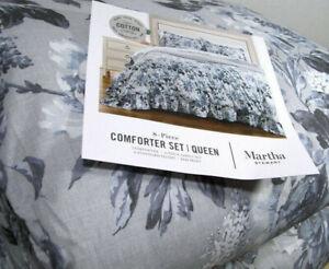 Martha Stewart Ruched Floral Flowers Queen Comforter Sheet Set Sham 8 Piece Set
