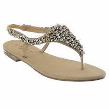 WOMENS LADIES FLAT TOE POST SLINGBACK DIAMANTE PEARL PARTY EVENING SANDALS SIZE