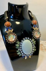 Vintage Statement Choker Necklace with Plastic Stones & Crystal Accents