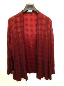 Vintage 80s XL Moon Light Garnet Red Topper Long Sleeve Cardigan Shirt Open USA