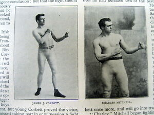 1894 illustrated newspaper Boxing Match JAMES J CORBETT defeats CHARLIE MITCHELL