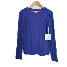 CeCe Entwine Cable Knit Long Sleeve Blue Sweater Size L