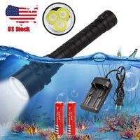 Dive Underwater 100m Diving 10000Lm 3x XML L2 LED Scuba Flashlight Light 18650