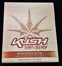 Full Box 50 Packs KUSH 100% HEMP King Size Slim Cigarette Rolling Papers