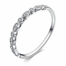 Stunning Solid 925 Sterling Silver Leaves Stackable Pave with Crystal Ring