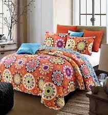 "Virah Bella® Collection - ""Suri Orange"" Printed Quilt Set - Queen Size"
