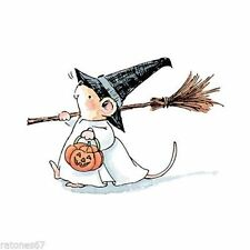 New Penny Black WITCHY MOUSE Wood Rubber Stamp Halloween Broom Pumpkin Black Hat