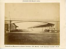 Italie, Passerelle à la station de Milan, ca.1880, vintage albumen print Vintage
