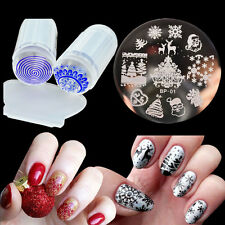 Christmas Nail Stamping Plate Polish Stamp Plate Silicone Stamper Scraper Kits