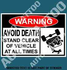 AVOID DEATH 4WD WARNING DECAL STICKER FUNNY 4WD NOVELTY SAFETY DECALS STICKERS