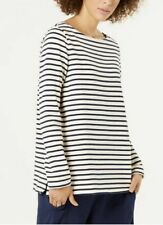 EILEEN FISHER Seaside Stripes Organic Cotton Soft White Bateau Neck Top XS