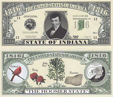 50 Indiana IN State Quarter Novelty Money Bills Lot