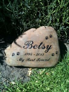 Etched Pet Memorial River Stone 20 to 30 cm long
