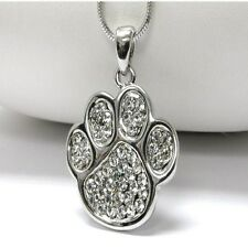 NEW CRYSTAL & SILVER PAW PRINT DOG CAT PENDANT NECKLACE WHITE GOLD PLATED