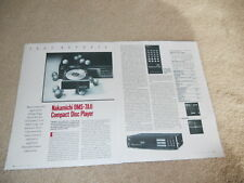 Nakamichi OMS-7AII CD Review, 2 pg, 1986, Full Test