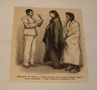 1885 magazine engraving ~ TEACHING NATIVE AMERICANS BY SIGN