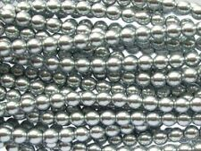 SILVER Czech glass round pearl beads - string of 75 beads - 6mm